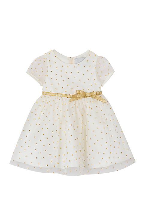 Rare Editions Baby Girls Ivory Gold Glitter Dot