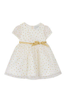 faffc7d01 ... Rare Editions Baby Girls Ivory Gold Glitter Dot Dress