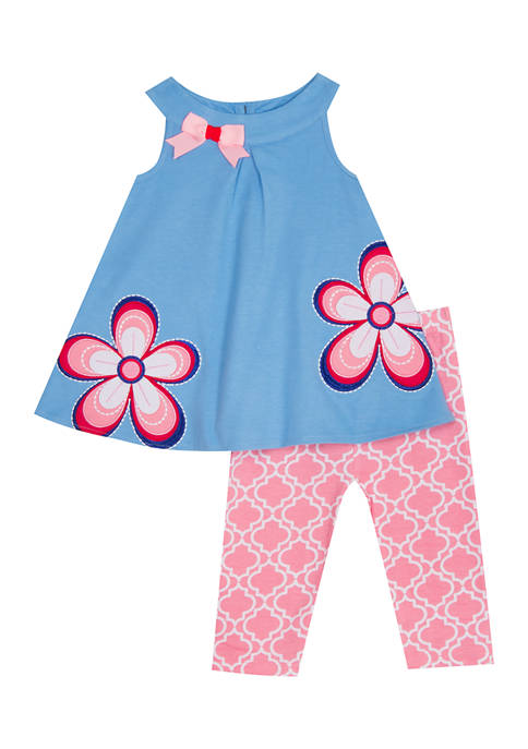 Baby Girls Knit Set with Flower Embellishment