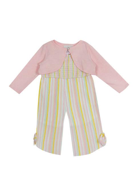 Baby Girls 2 Piece Seersucker Jumpsuit Set