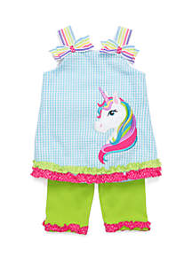 Rare Editions Baby Girls Seersucker Capri Unicorn Set