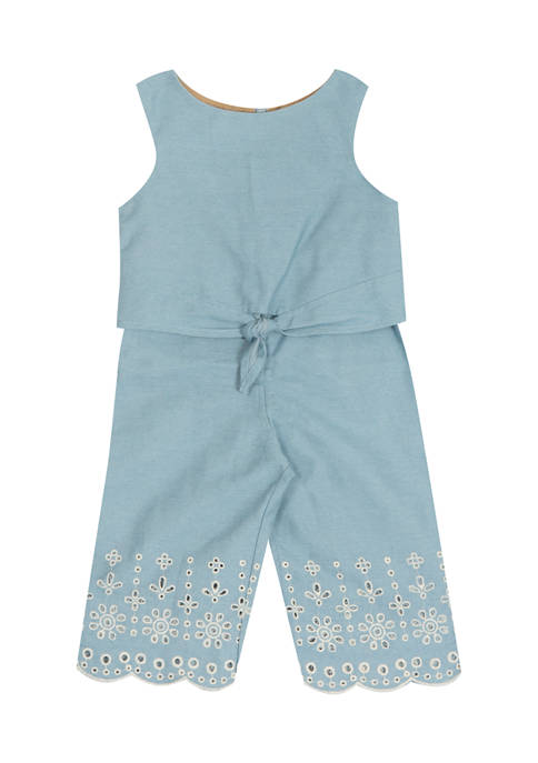 Rare Editions Baby Girls Chambray Jumpsuit with Embroidery
