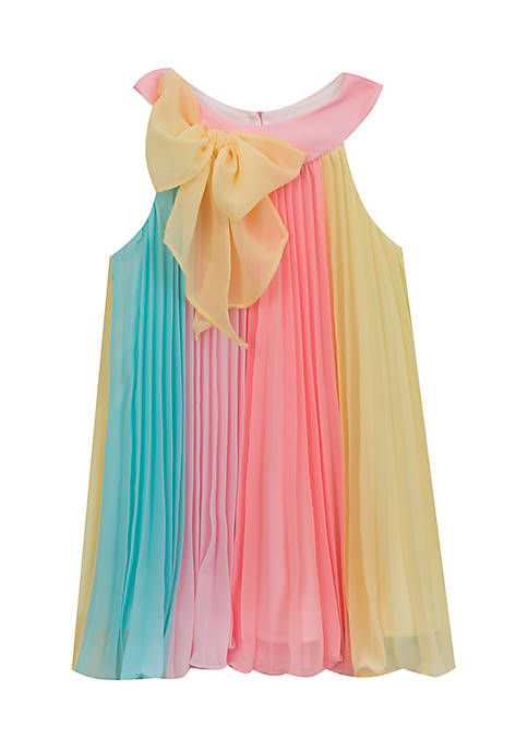 Rare Editions Pleated Colorblock Dress Toddler Girls