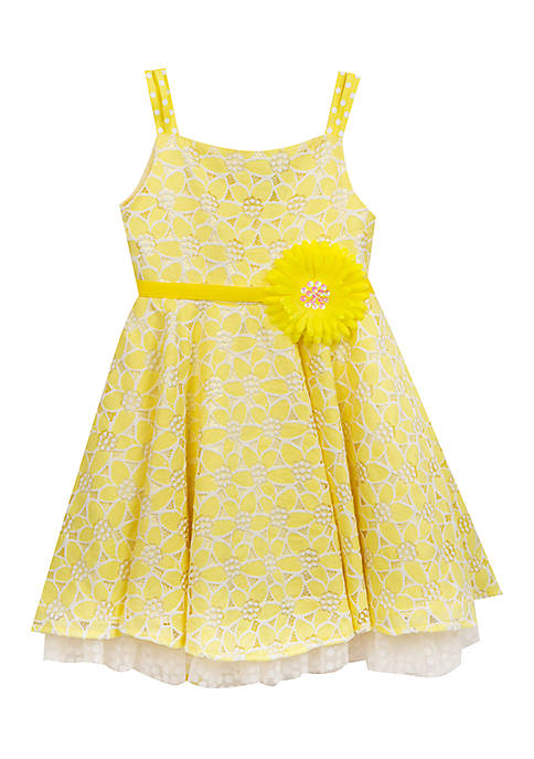 Rare Editions Girls 4-6x Peekaboo Lace Dress