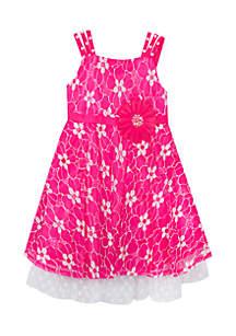 Toddler Girls Flower Crochet Tank Dress