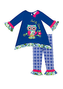 Toddler Girls Owl Be There Applique Set