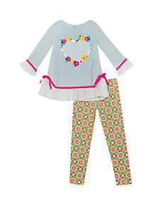 Rare Editions Toddler Girls Heart Applique Set