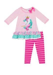 Rare Editions Toddler Girls Pink Unicorn Applique Set