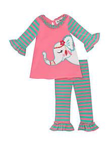 Rare Editions Toddler Girls Elephant Applique Set