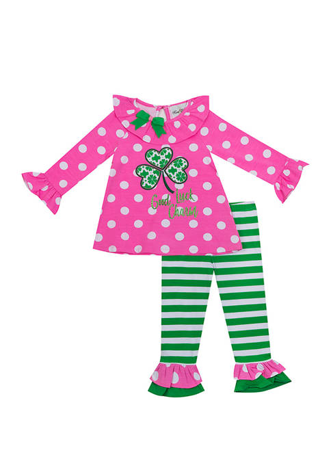 Rare Editions Toddler Girls 2 Piece Pink Dot