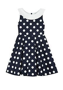 Rare Editions Toddler Girls Navy White Polka Dot with Back Bow Dress