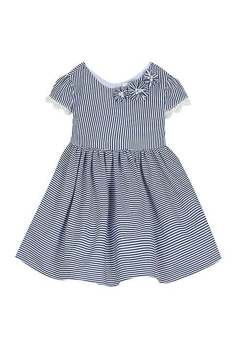 Rare Editions Toddler Girls Navy White Seersucker Dress