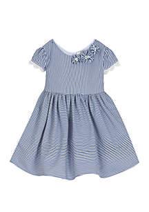 Toddler Girls Navy White Seersucker Dress