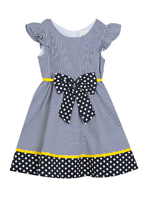 Toddler Girls Navy Stripe Dots with Bow Dress