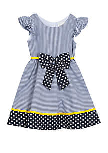 Rare Editions Toddler Girls Navy Stripe Dots with Bow Dress
