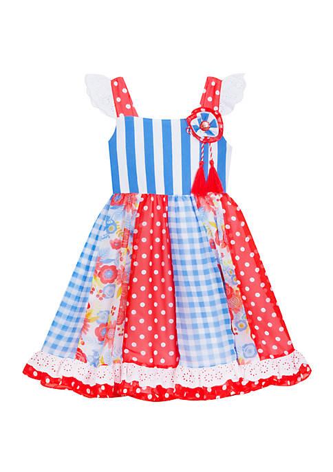 Toddler Girls Mixed Print Chiffon Dress