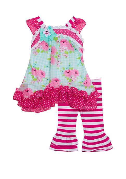 Counting Daises Toddler Girls Floral Mixed Media Capri