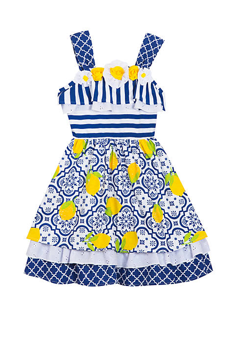 Counting Daisies Toddler Girls Lemon Mix Print Dress