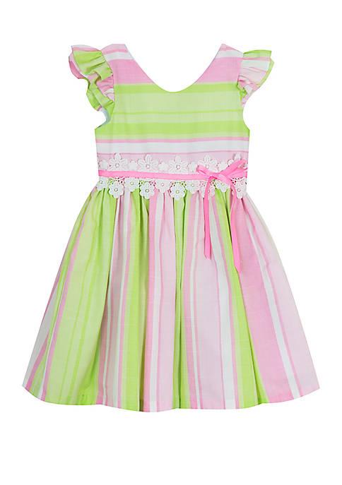 Toddler Girls Pink Green Stripe Linen Dress