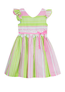 Rare Editions Toddler Girls Pink Green Stripe Linen Dress