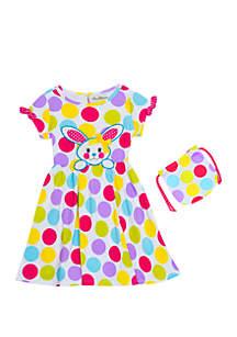 Toddler Girls Polka Dot Bunny Dress