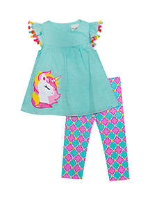 Rare Editions Toddler Girls Unicorn Tassel Capri Set