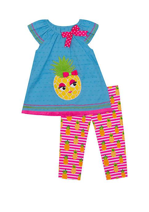 Toddler Girls Pineapple with Glasses Capri Set