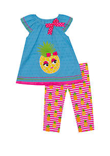 Rare Editions Toddler Girls Pineapple with Glasses Capri Set