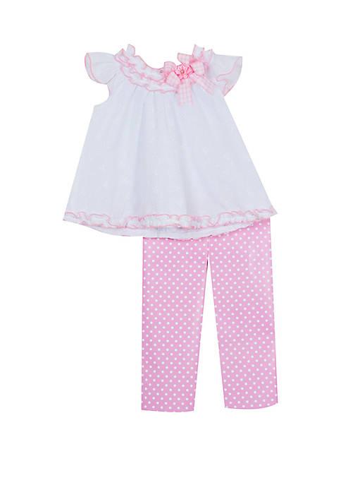 Toddler Girls Pretty Pink Dot Capri Set