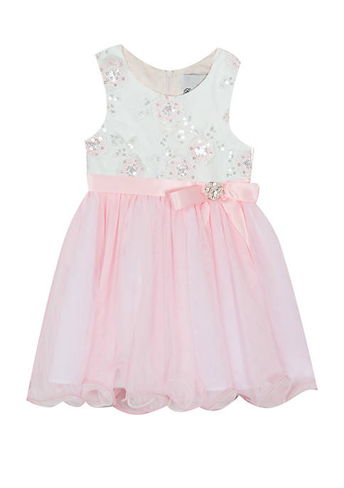 Toddler Girls Pink Floral Embellished Social Dress