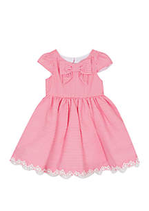 Toddler Girls Seersucker Front Bow Dress