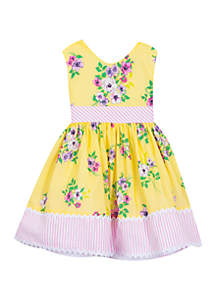 Toddler Girls Yellow Floral Dress with Border