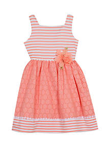 Rare Editions Toddler Girls Peach Eyelet with Flower Dress
