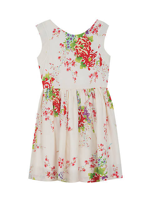 Rare Editions Toddler Girls Ivory Floral Cotton Dress