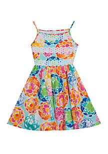 Rare Editions Toddler Girls Floral Sateen Fit and Flare Dress