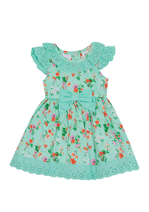 Rare Editions Toddler Girls Floral Mint Bow Waist