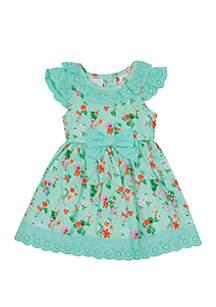 Rare Editions Toddler Girls Floral Mint Bow Waist Dress