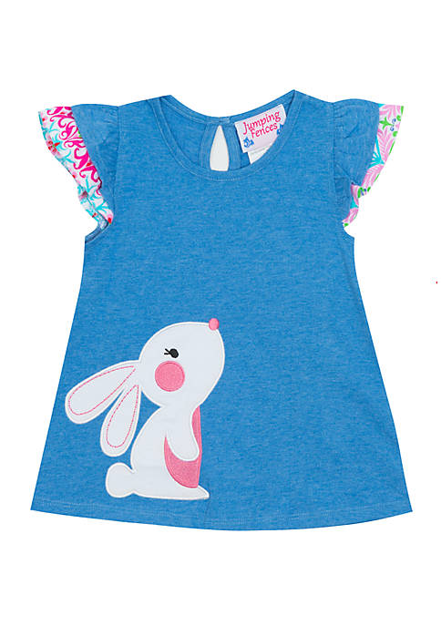 Rare Editions Toddler Girls Blue Bunny Top
