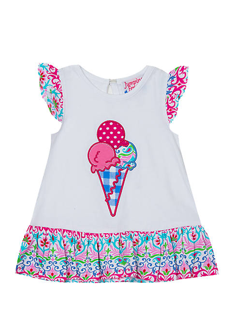 Rare Editions Toddler Girls Ice Cream Cone Top