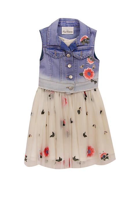 Rare Editions Toddler Girls Denim Vest Floral Dress
