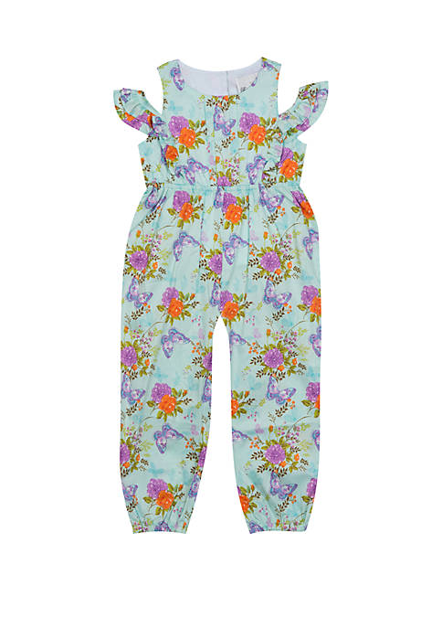 Toddler Girls Cold Shoulder Floral Romper