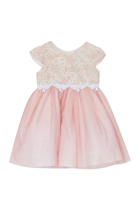 Rare Editions Toddler Girls Blush Sparkle Lace Dress