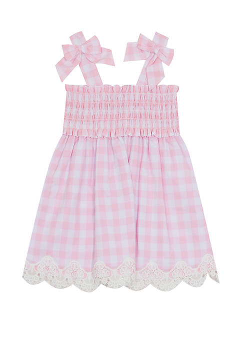 Rare Editions Toddler Girls Gingham Bow Tank Dress