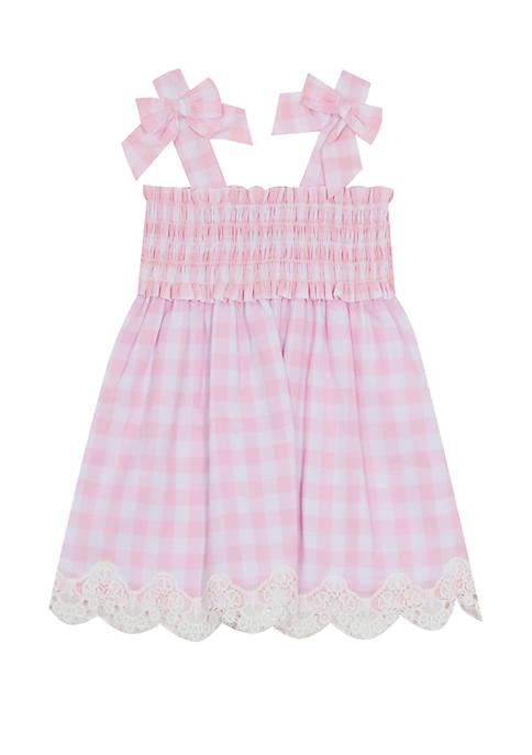 Toddler Girls Gingham Bow Tank Dress