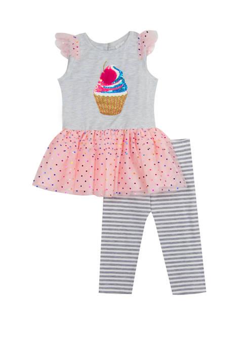 Rare Editions Toddler Girls Cap Sleeve Cupcake Leggings