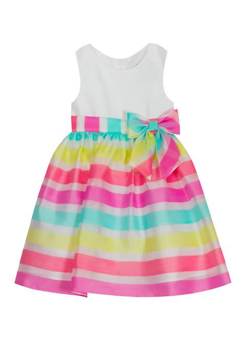 Rare Editions Toddler Girls Shantung Organza Stripe Dress