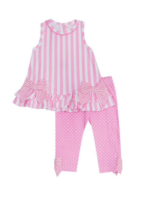 Toddler Girls Sleeveless Stripe Dot Leggings Set