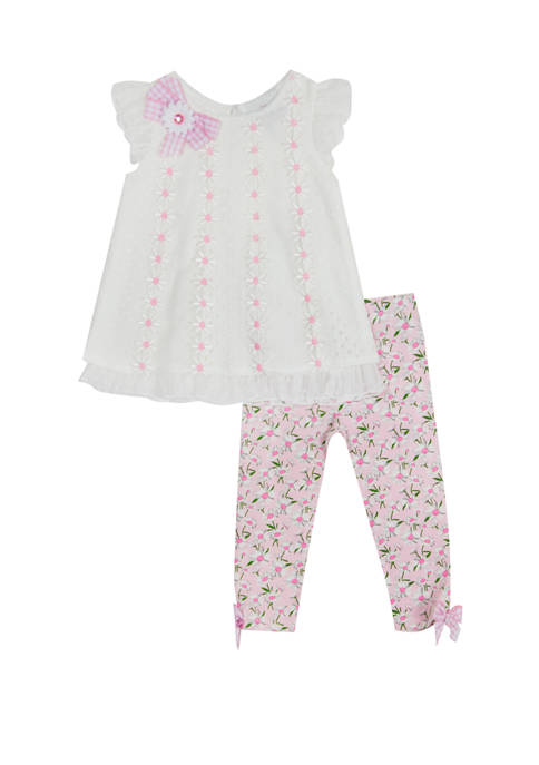 Rare Editions Toddler Girls Lace Floral Top and
