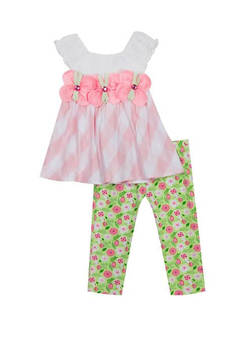 Toddler Girls Sleeveless Plaid Floral Leggings Set
