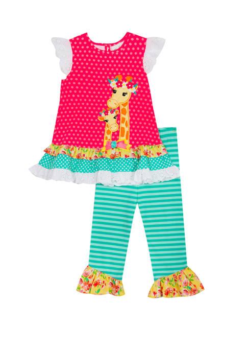 Rare Editions Toddler Girls Flutter Sleeve Giraffe Shirt
